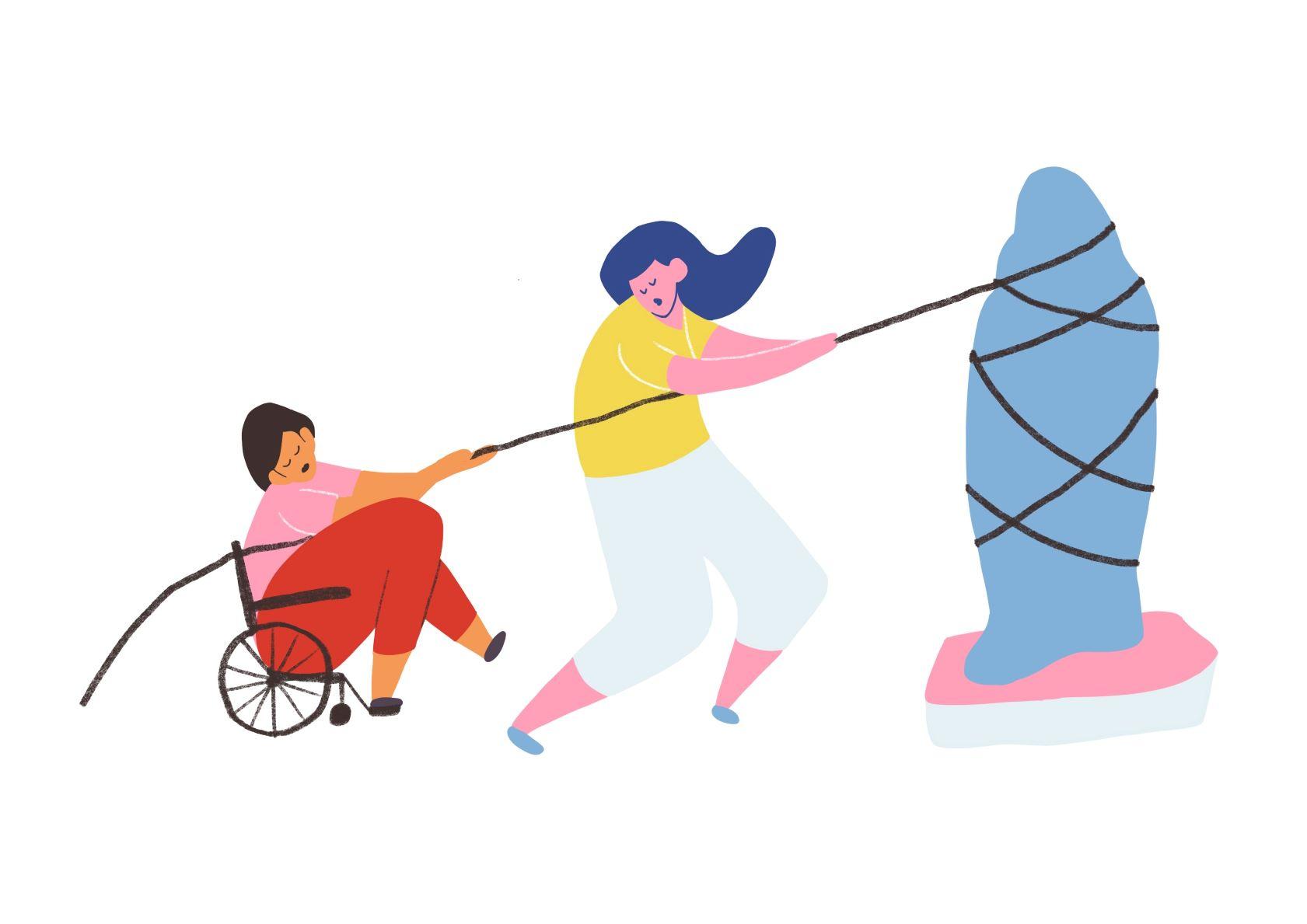 Illustration aus dem Reader Grundbegriffe für kulturelle Bildung Kapitel Partizipation und Barrierefreiheit