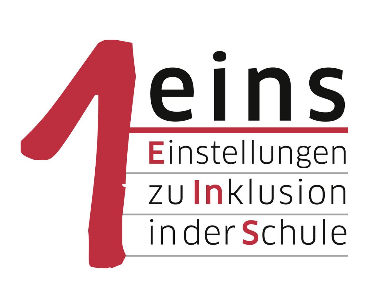 """Logo des Projekts """"eins - Einstellungen zu Inklusion in Schule""""."""